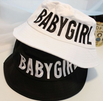 hat girl girly girly wishlist bucket hat white black baby girl