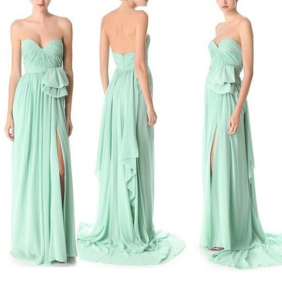 dress long strapless mint beautiful slit flow