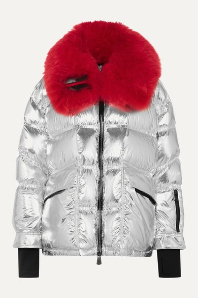 Moncler Grenoble - Shearling-trimmed Metallic Quilted Down Ski Jacket - Silver - Shearling-trimmed Metallic Quilted Down Ski Jacket