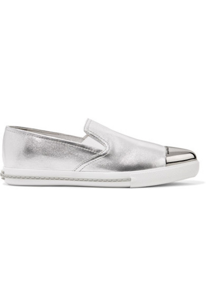 Miu Miu metal metallic sneakers silver leather shoes