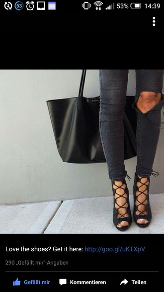 shoes aqua high heels gladiators ripped jeans