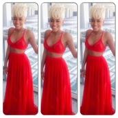 two-piece,red dress,skirt,crop tops,top,jumpsuit,dress