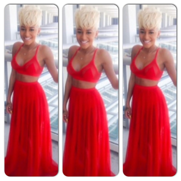 two-piece red dress skirt crop tops top jumpsuit