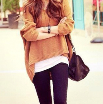 sweater clothes cute sweaters short front long back pullover large oversized sweater oversized brown shirt cool girl style lazy day bag cardigan marron marroon jewels watch winter sweater winter outfits outfit fashion jumper maron camel fall outfits perfect caramel yellow sweater blouse