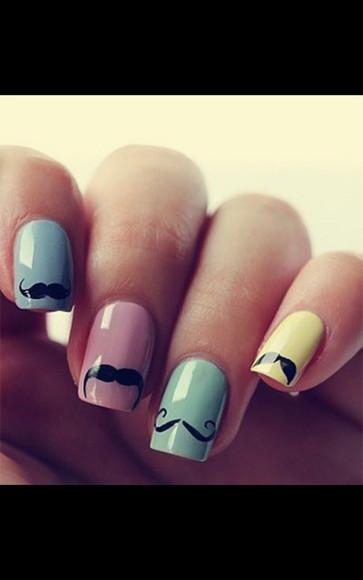 mustache nail polish