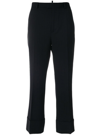 cropped women spandex black wool pants