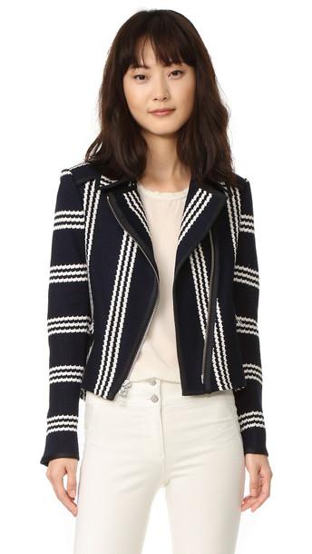 Veronica Beard Bailey Moto Jacket - Navy/White