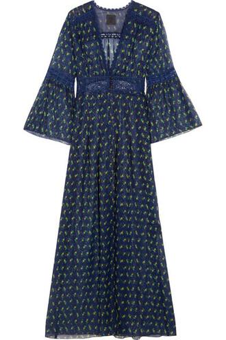 jacket kimono jacket lace floral print blue silk