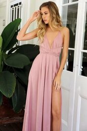 dress,slit satin dress,satin dress,maxi dress,lace up maxi dress,beach dress,spring dress,summer dress,pink satin