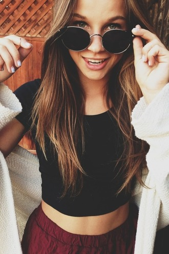 sunglasses t-shirt shirt shorts sweater round sunglasses black blouse