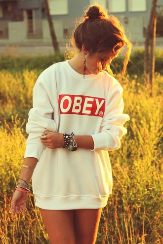sweater obey sweater hair accessory jewels
