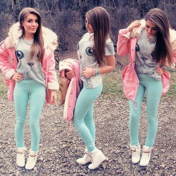 pink jacket shoes pink jacket fur faux fur jacket blouse pants