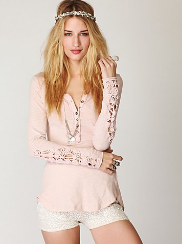 Free People  Crochet Cuff Henley at Free People Clothing Boutique