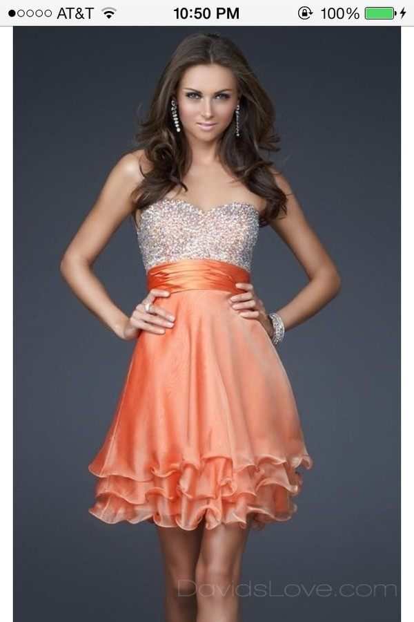 dress orange cream dress sparkles