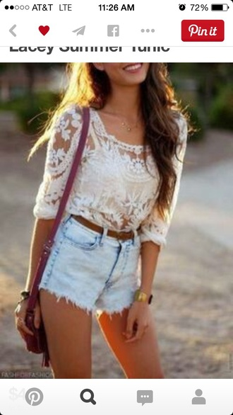 blouse lace top white top country style girly