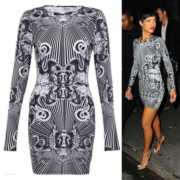 Dress: designer dress, rihanna dress, illusion dress, long sleeves ...