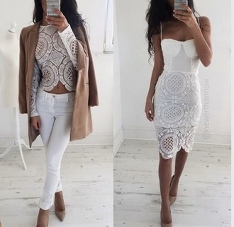 dress white white dress shirt blouse lace white