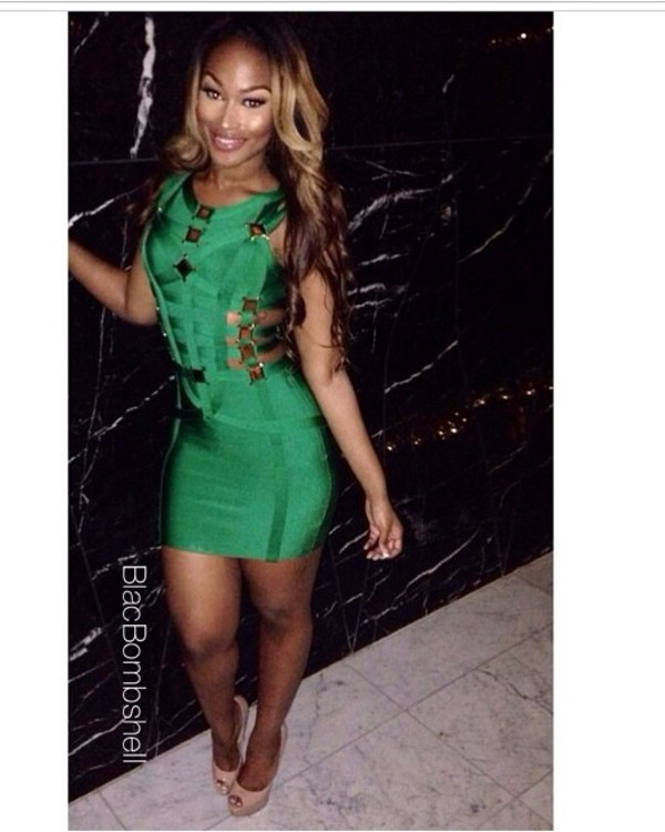 celebritydress bandage dress bandage dress miami style ootd style blogger chic green dress club dress sexy dress follow my instagram