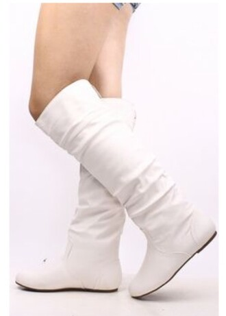 shoes white off-white flats no heel wedding winter outfits cold leggings high knee style fashionista fashion stylish classy girly scarf boots accessories cream snow leather leather shoes fall outfits knee high boots winter boots