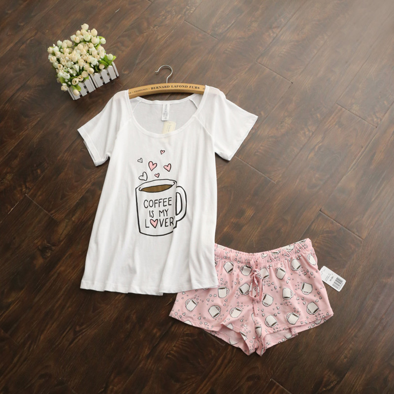 49511254150e Cute pajamas sets with white and pink  grey and green color coffee cups  printed women pajama ...