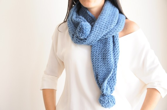 Blue Pompom Scarf by aykelila on Etsy