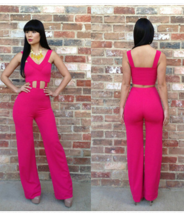 Images of Pink Jumpsuit Womens - Reikian