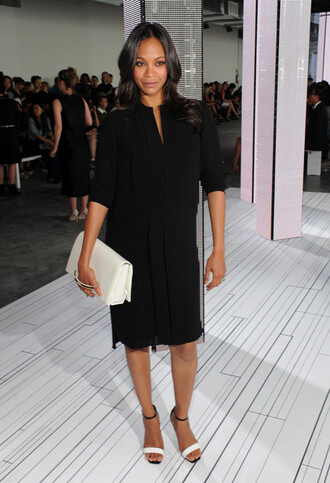 dress black zoe saldana fashion week 2014 maternity dress