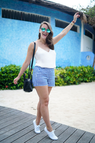 covering bases curvy blogger tank top shorts shoes sunglasses jewels