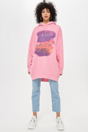 hoodie,long,new,new york city,pink,sweater