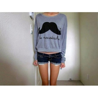 sweater moustache grey