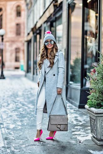 coat tumblr grey coat long coat grey long coat bag beanie pom pom beanie grey beanie denim jeans white jeans pumps pointed toe pumps sunglasses