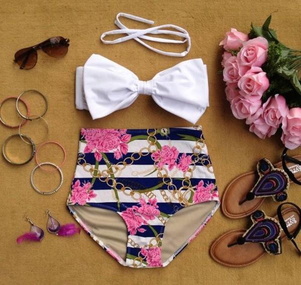swimwear etsy white pink blue gold chain summer swimwear beach shoes sunglasses swimwear high waisted floral print