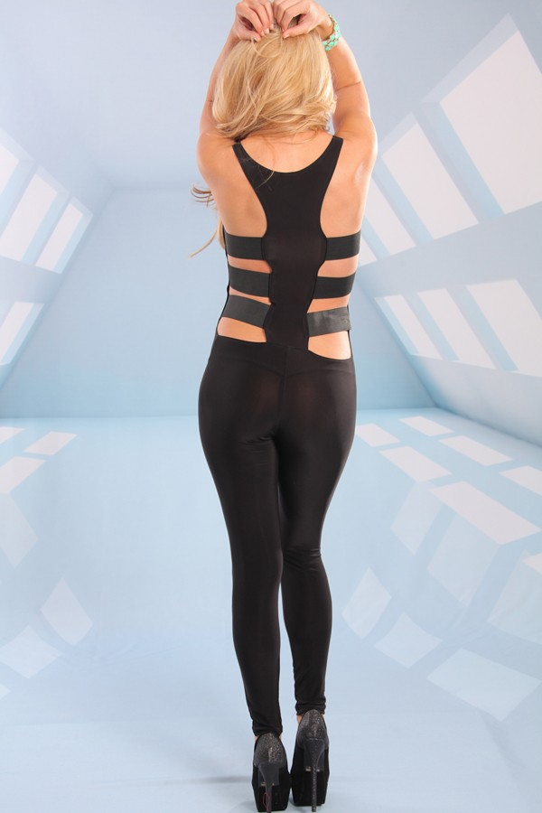 Black Jump Suits/Rompers - Black Racerback Jumpsuit with Cutout | UsTrendy