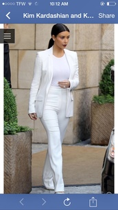 jumpsuit,all white everything,suit,kim kardashian