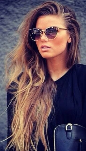 sunglasses fashion black blonde hair hairstyles