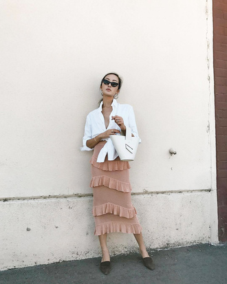 shirt skirt ruffle skirt tumblr tie-front top white shirt bag white bag midi skirt pink skirt ruffle shoes flats