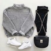 sweater,grey,short,grey sweater
