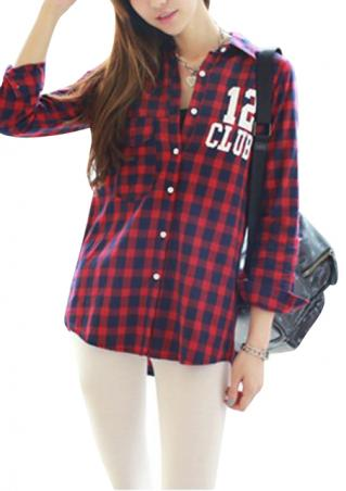 Women's summer casual preppy style loose sweet plaid pattern blouse online