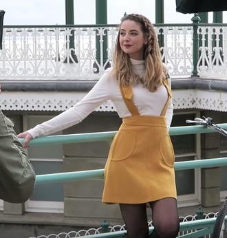 skirt zoe sugg zoella mustard suspenders fall colors braid skirt with suspenders