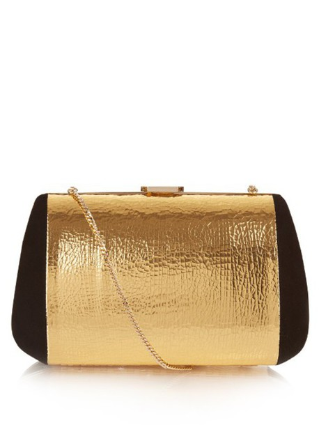 NINA RICCI leather clutch bag clutch leather suede gold black
