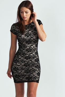 Cheryl Sequin Knot Back Lace Bodycon Dress at boohoo.com