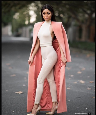 jacket jumpsuit nude nude jumpsuit party outfits sexy sexy outfit spring outfits fall outfits winter outfits classy elegant cute girly date outfit clubwear dope celebrity style blogger tumblr outfit