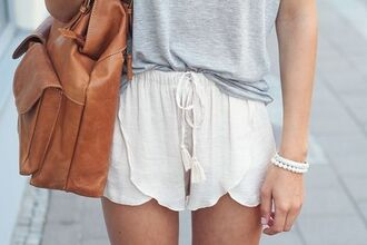 shorts loose white jewels women cute fashion inspo inspiration fashion fashspirashon bag white shorts beachy drawstring flowy shorts white shorts cream loose shorts cream shorts fabric shorts beige shorts