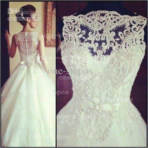 Buy 2014 hot ball gown crew neck illusion embroidery crystal / beaded satin lace sash tulle sheer covered button wedding dresses bo3039, $141.91