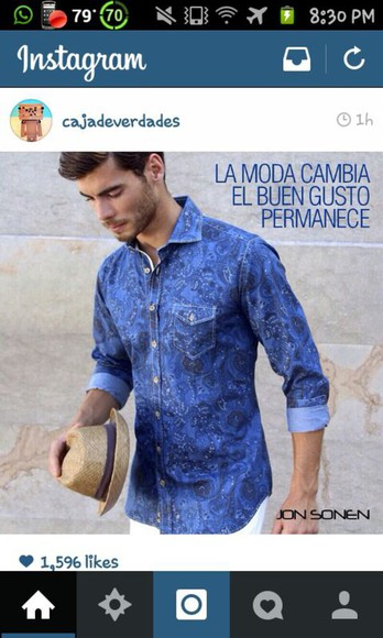 mens shirt blue men's clothes
