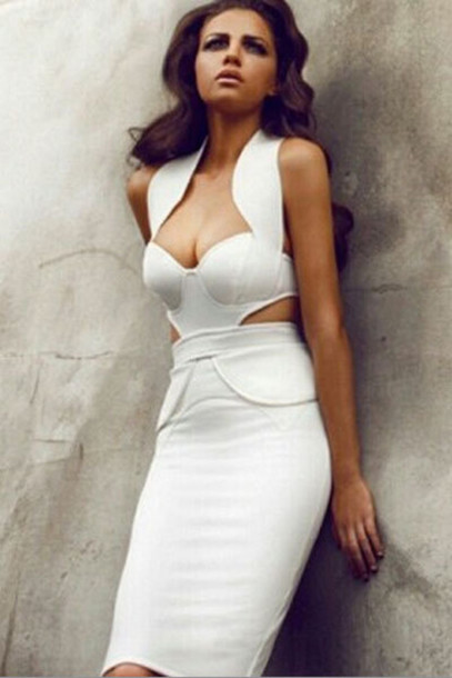 dress white dress bodycon dress midi dress