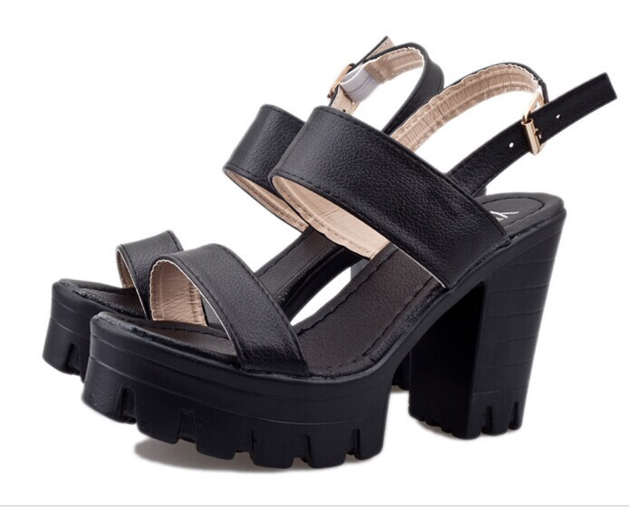 Women sandals!Free shipping! New 2014 belt hasp open toe sandals platform thick heel high heeled shoes white black women's shoes-in Sandals from Shoes on Aliexpress.com
