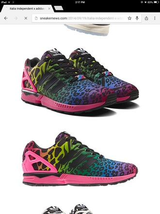 shoes colorful leopard print pink adidas green puple italy yellow