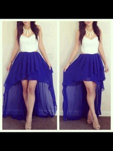 skirt violet blue skirt white tube top shirt