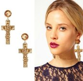 jewels,cross earring